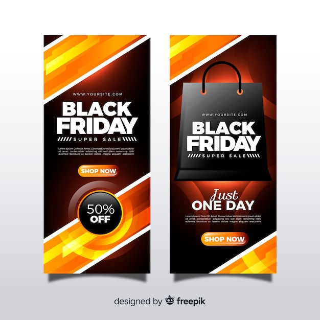 Modern black friday banners with realistic design Free Vector