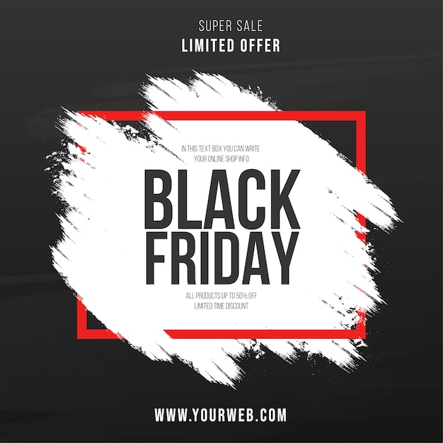 Modern black friday brush stroke background Free Vector