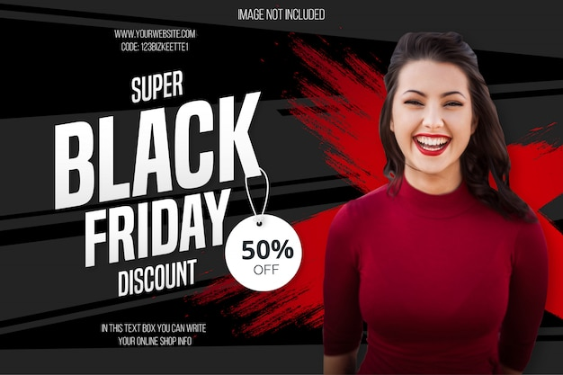 Modern black friday discount banner Free Vector
