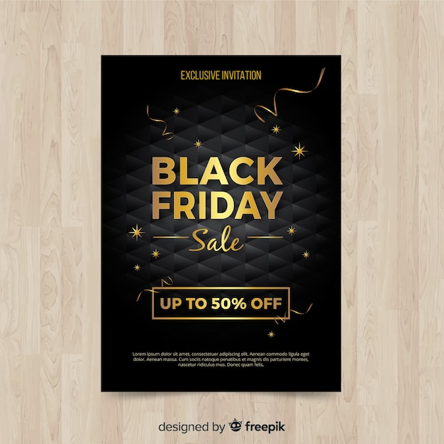 Modern black friday flyer template with realistic design Free Vector