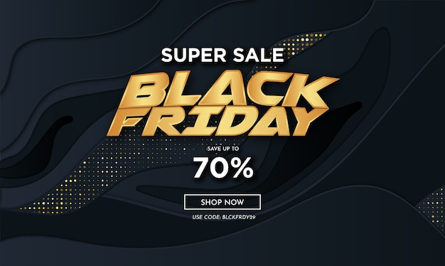 Modern black friday golden super sale with abstract 3d black decoration Free Vector