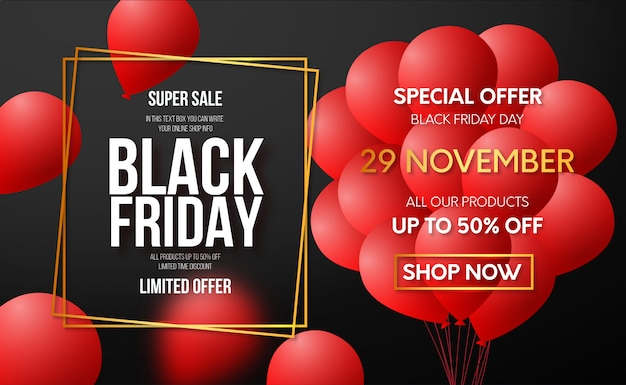 Modern black friday offer banner Free Vector