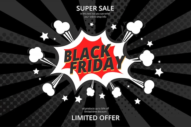 Modern black friday sale background with comic style Free Vector