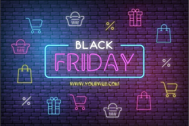 Modern black friday sale background with neon icons Free Vector