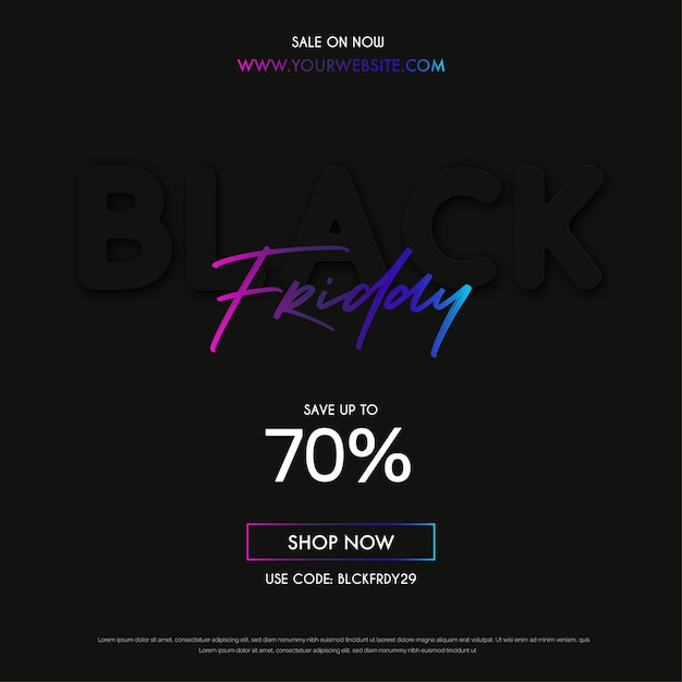 Modern black friday sale banner with minimal design Free Vector