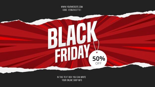 Vendita moderna del black friday con sfondo banner papercut Vettore gratuito
