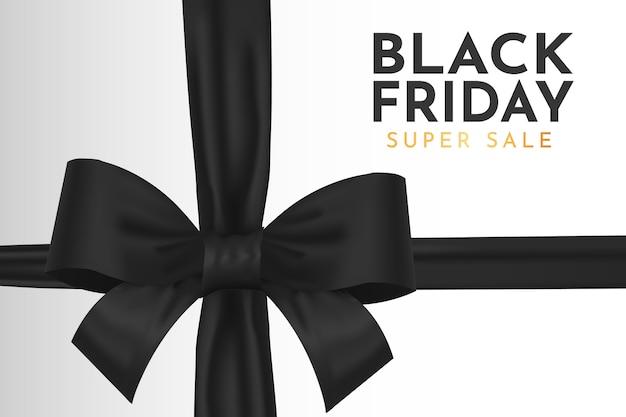 현실적인 검은 리본으로 현대 검은 금요일 슈퍼 판매 배경 무료 벡터