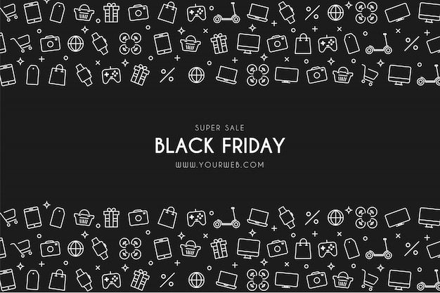 Modern black friday super sale background with shop icons Free Vector