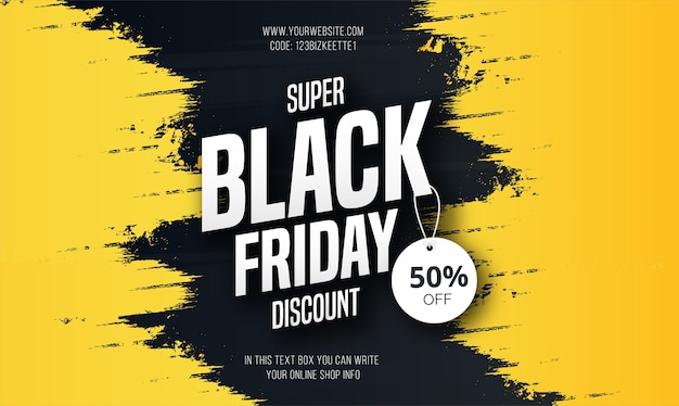 Modern black friday super sale banner with yellow splash Free Vector