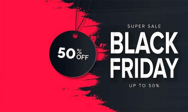 Modern black friday super sale with red brush stroke Free Vector