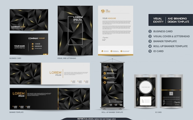 Modern black gold polygonal stationery mock up set and visual brand identity with abstract overlap layers Premium Vector