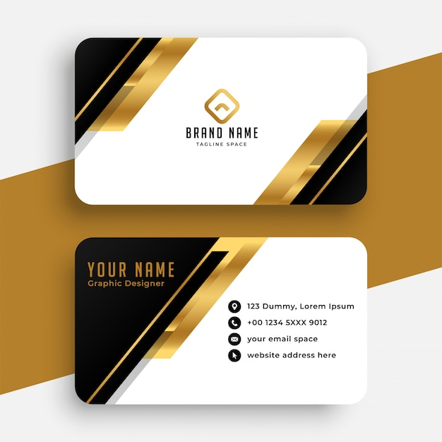 Modern black and golden business card design Free Vector