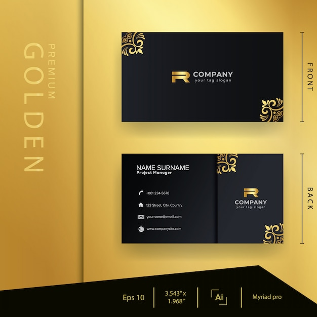 Modern black golden business card with luxury style and elegant template Premium Vector