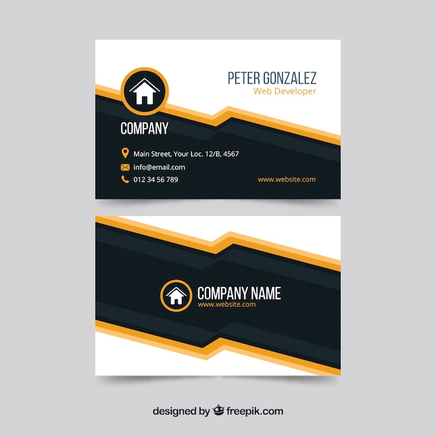 Modern black and orange business card template Free Vector