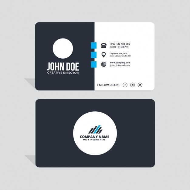 Download vector modern black white and blue business card download vector modern black white and blue business card reheart Image collections