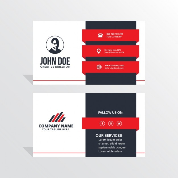 modern black white and red business card vector free