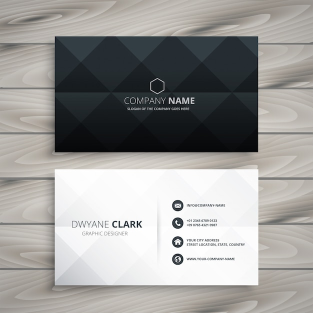 Modern black and white business card design Free Vector
