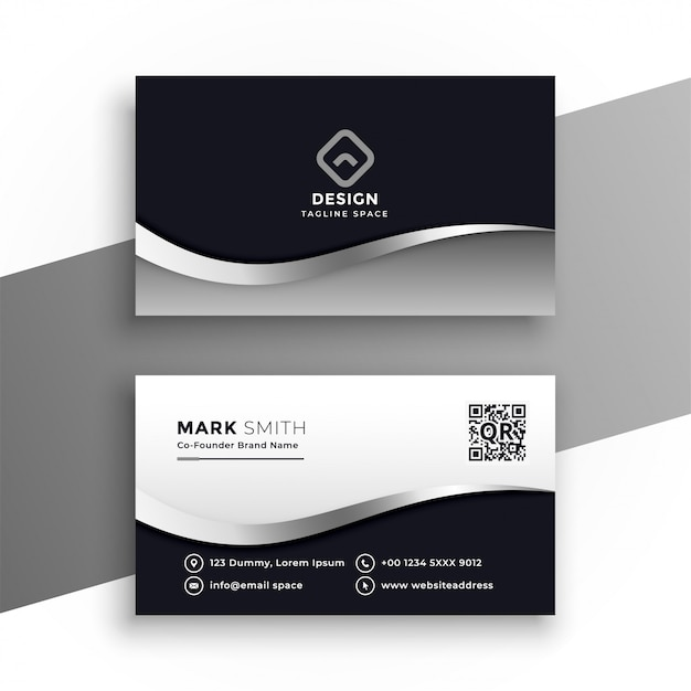 Modern black and white business card Free Vector