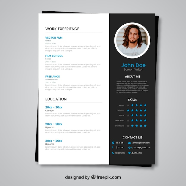 modern black and white cv concept vector