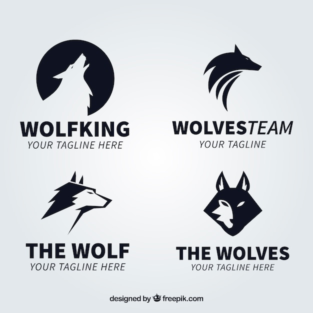 modern black wolf logo collectio vector free download