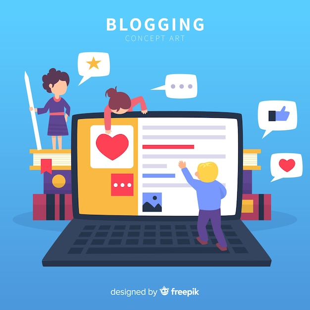 Modern blogger concept with flat design Free Vector
