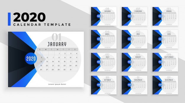 Modern blue 2020 calendar layout  template Free Vector