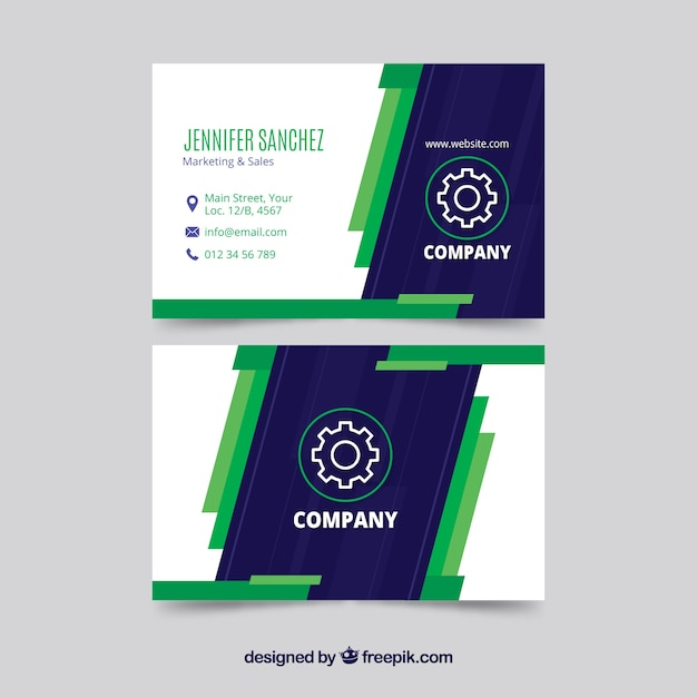 Modern blue and green business card template vector free download modern blue and green business card template free vector cheaphphosting Images