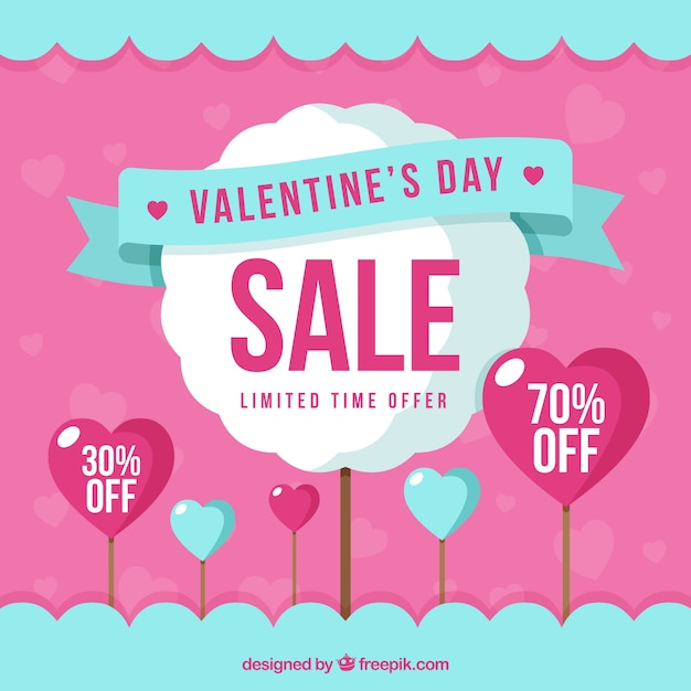 Modern blue and pink valentine sale background Free Vector