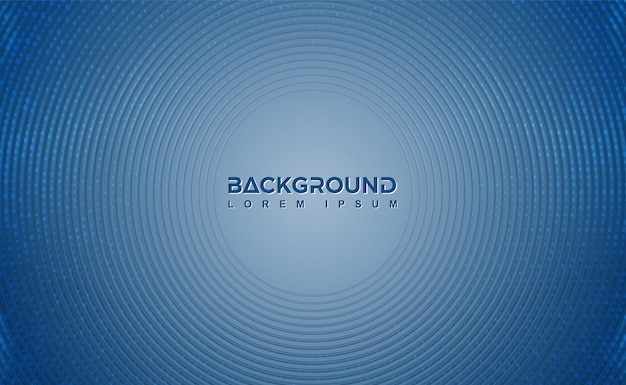 Modern blue background with circular lines and dots. Premium Vector