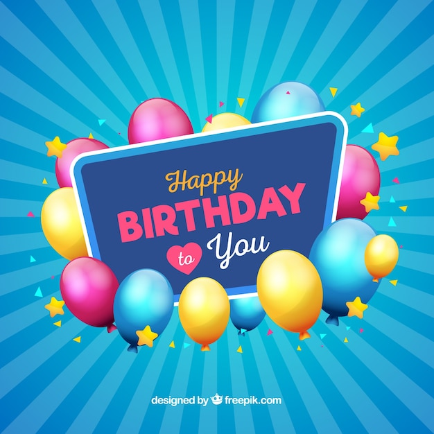 Modern blue birthday background Free Vector