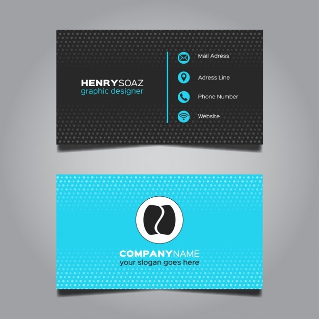 modern blue business card design vector free download