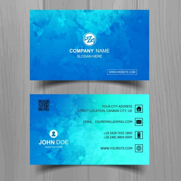 Download vector modern blue business card vectorpicker modern blue business card with watercolors reheart Images