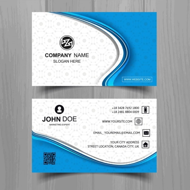 Modern blue business card vector free download modern blue business card free vector reheart Images