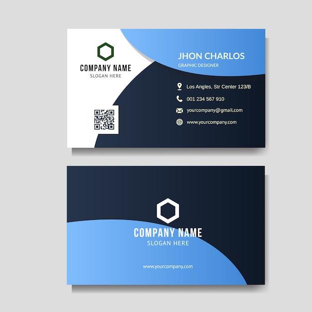 Modern blue business card Premium Vector