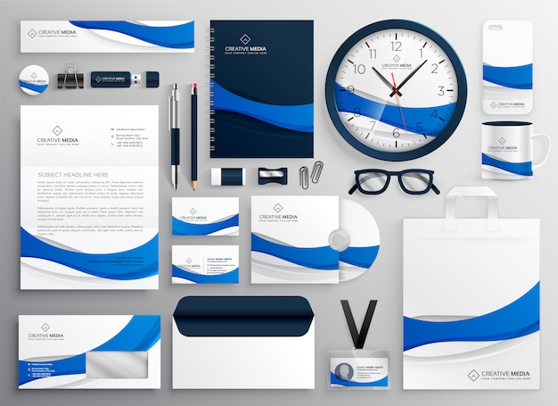 Modern blue business collateral stationery set Free Vector