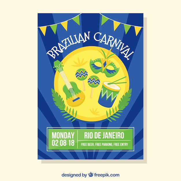 modern blue carnival poster design vector free download