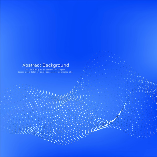 Modern blue color dotted wave background Free Vector