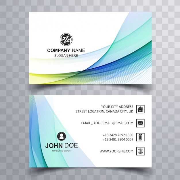 Modern blue corporate business card Free Vector