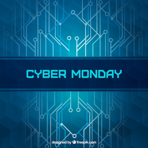 Modern blue cyber monday background Free Vector