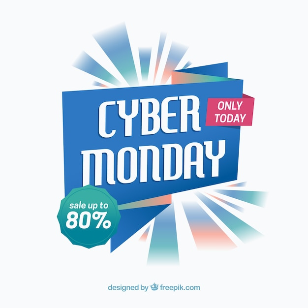 Modern blue cyber monday design in flat style
