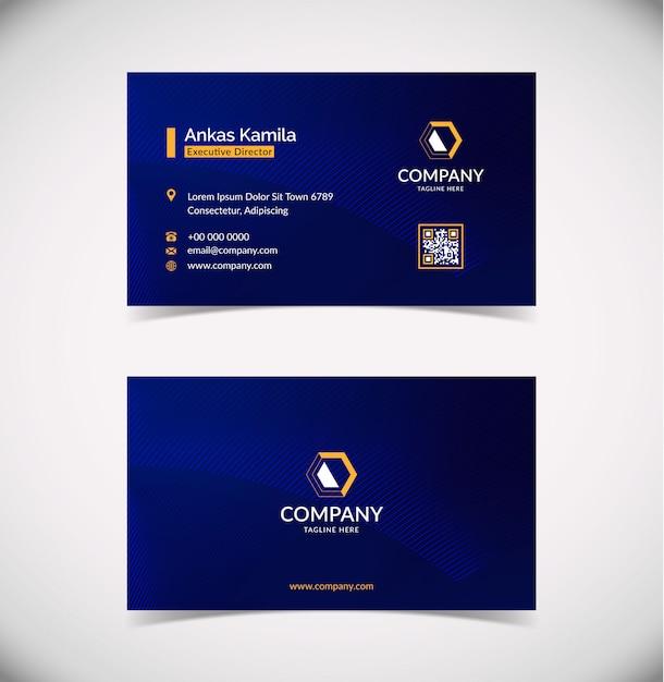 Modern blue geometric business card template Premium Vector