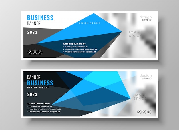 Modern blue geometric business presentation banner design Free Vector