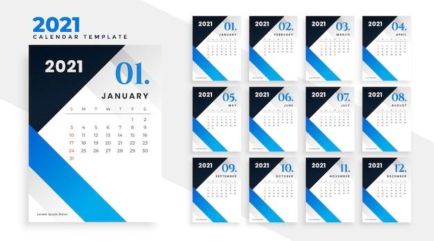 モダンな青い幾何学的な新年2021年カレンダーデザイン 無料ベクター
