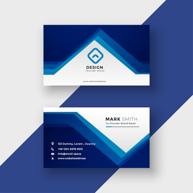 Modern blue geometric style business card vector illustration Free Vector
