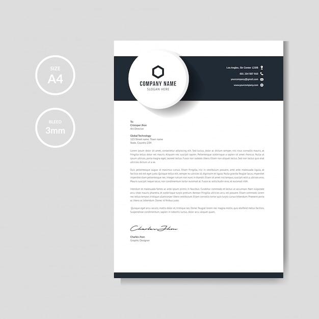 Modern blue letterhead Premium Vector