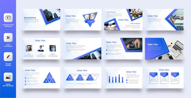 현대 블루 다목적 프리젠 테이션 템플릿 프리미엄 벡터
