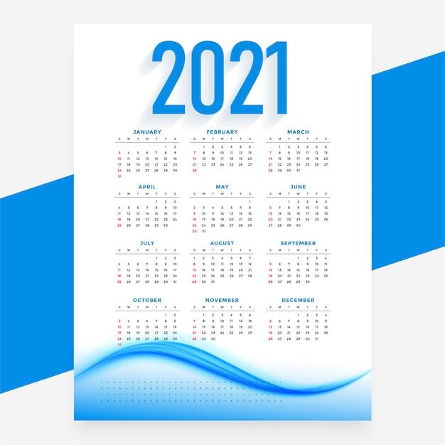 モダンブルー新年カレンダー波状テンプレート 無料ベクター
