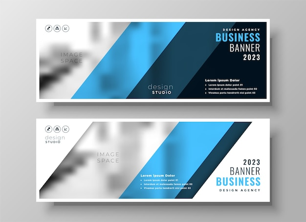 Modern blue professional business facebook cover or header set of two Free Vector