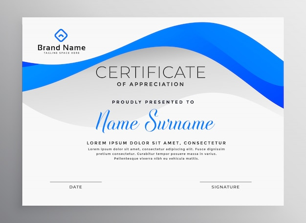 modern blue professional certificate template vector free download
