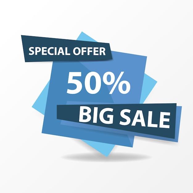 Modern blue sale banner template Free Vector